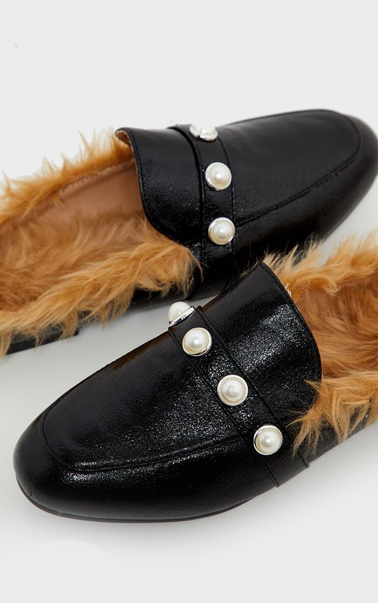 Black Pearl Studded Flat Mule  3