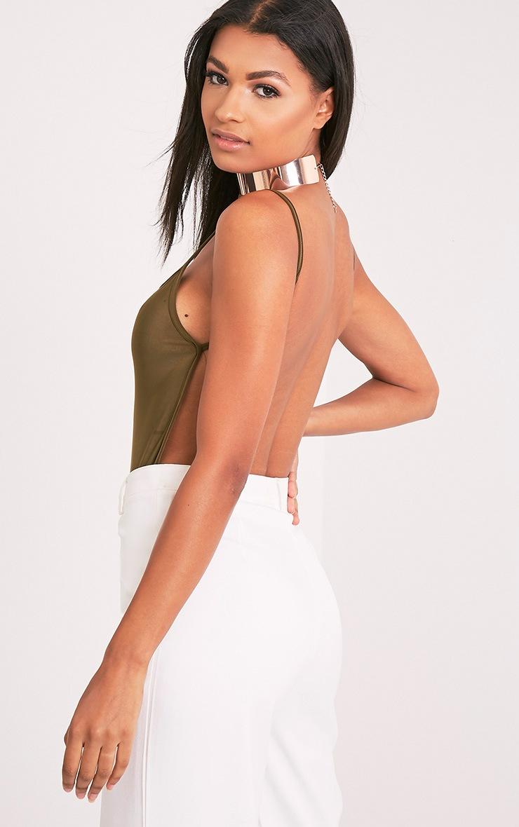 Devonna Khaki Backless Slinky Thong Bodysuit 1