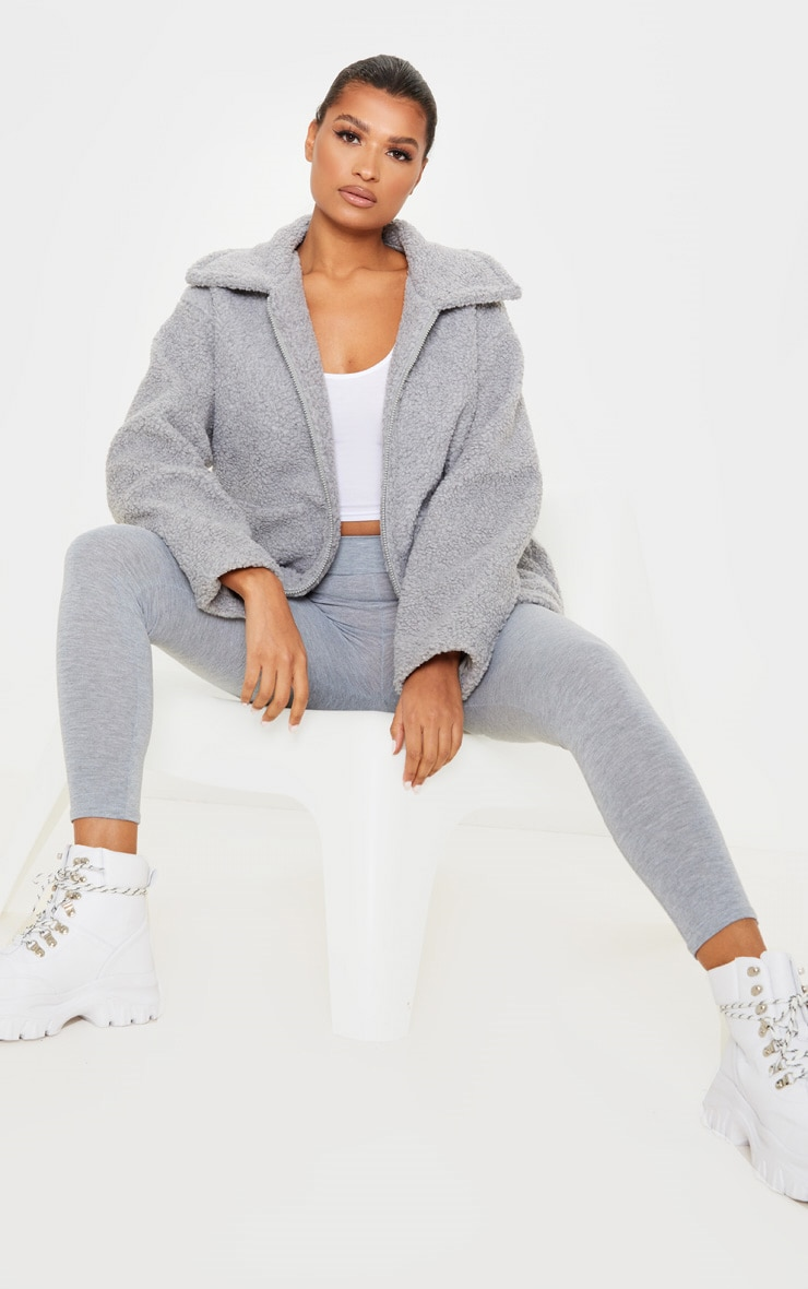 Grey Borg Zip Up Oversized Jacket 4