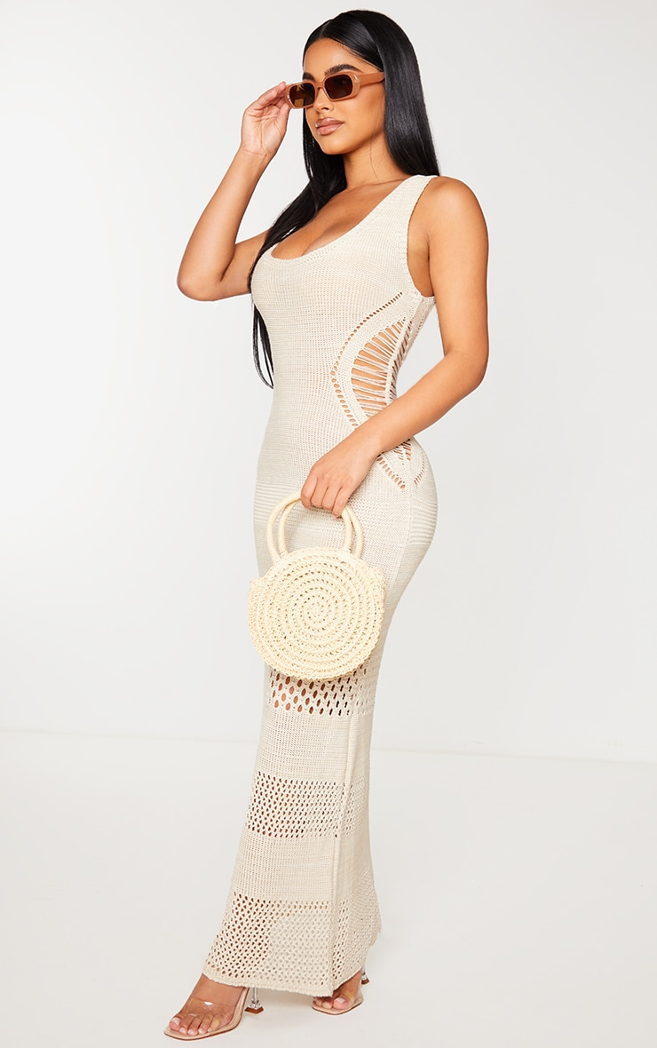 Petite Cream Crochet Plunged Maxi Dress 3
