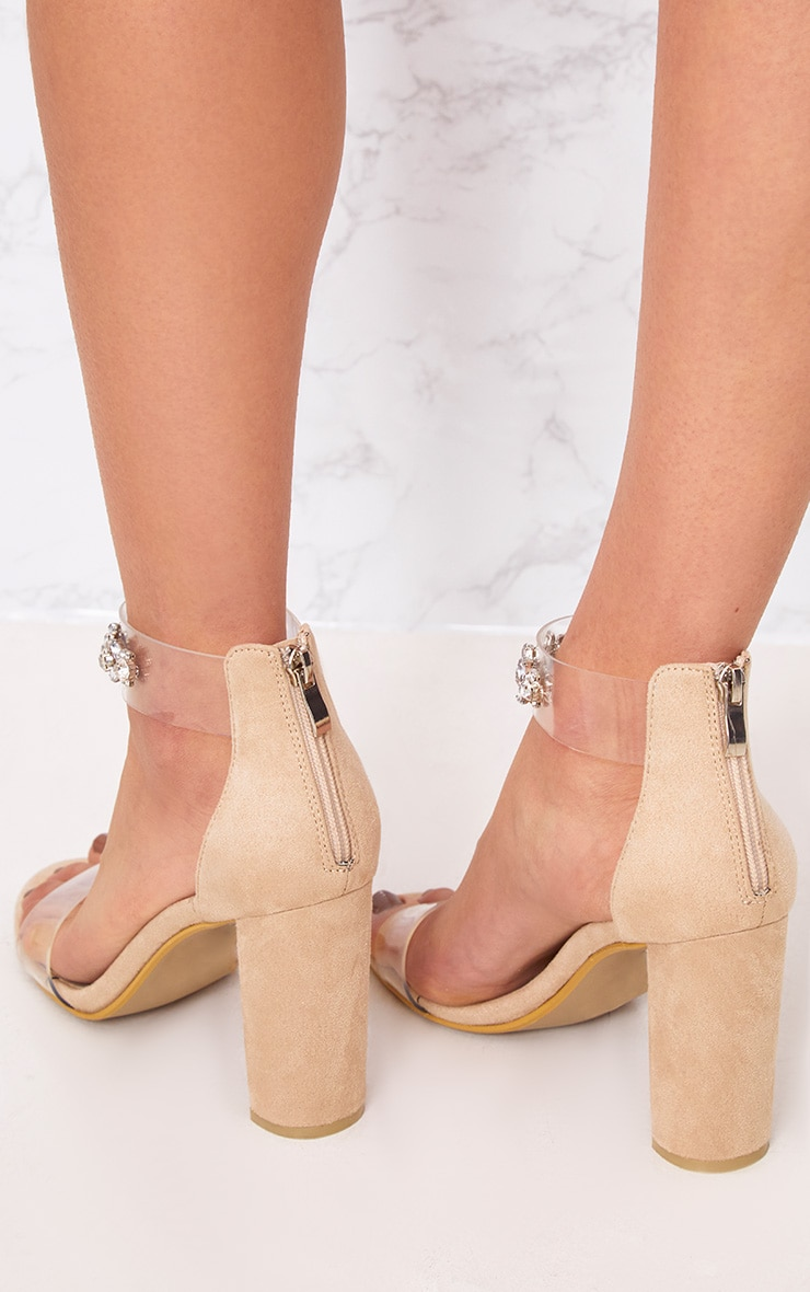 Kelle Nude Jewelled Strap Heeled Sandals 2