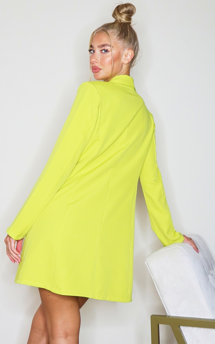 Lime Long Sleeve Curved Pocket Detail Blazer Dress 2