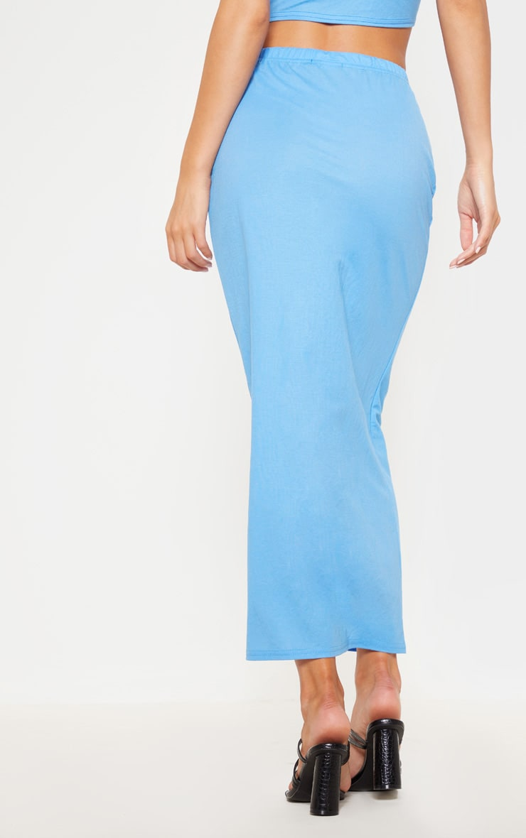 Blue Woven Button Detail Midi Skirt 4