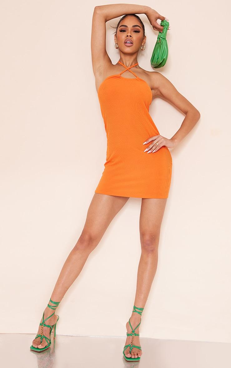 Orange Cross Over Halterneck Jersey Bodycon Dress 1