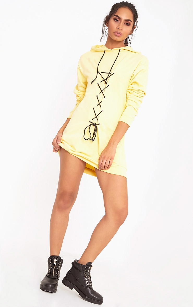 Bexie Contrast Black Lace Up Hooded Sweater Dress Yellow 4