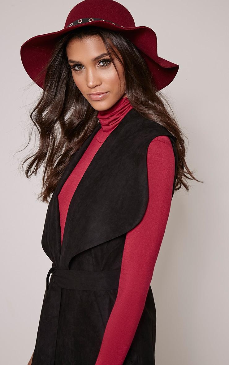 Leelah Burgundy Eyelet Trim Floppy Hat 2