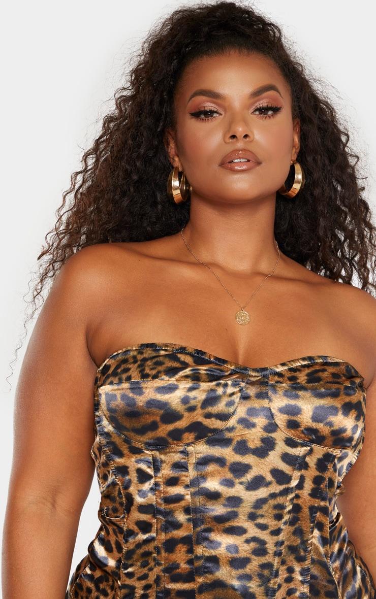 Plus Brown Leopard Print Corset Top 5