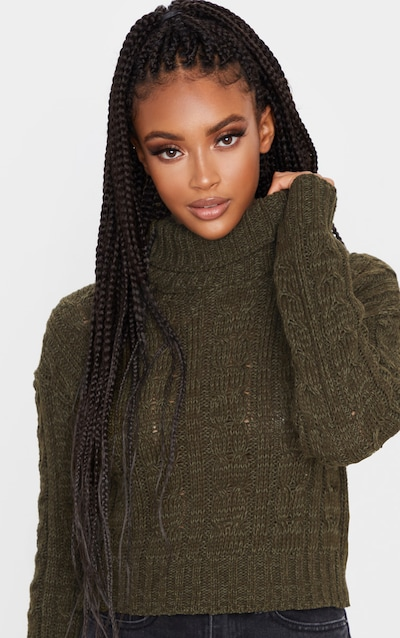 Khaki All Over Cable Knit Roll Neck Crop Jumper