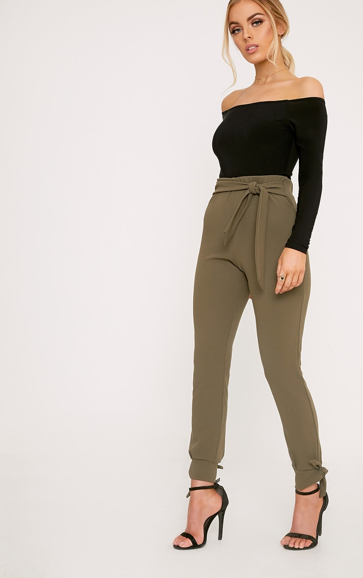 Detta Khaki Tie Detail Fitted Trousers  1