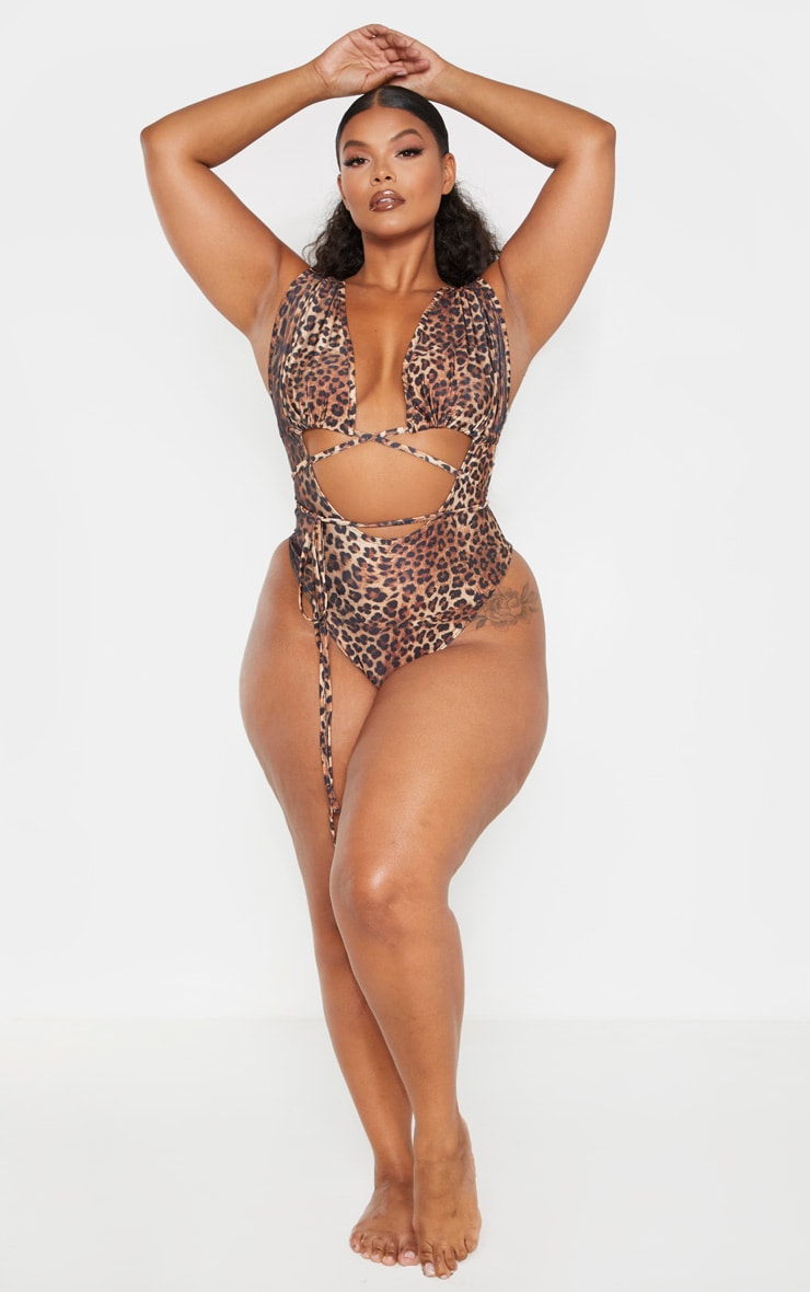 Plus Brown Leopard Print Cut Out Wrap Around Swimsuit 5