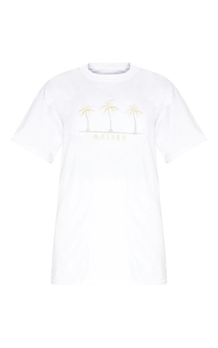 White Malibu Embroidered Oversized T shirt 3