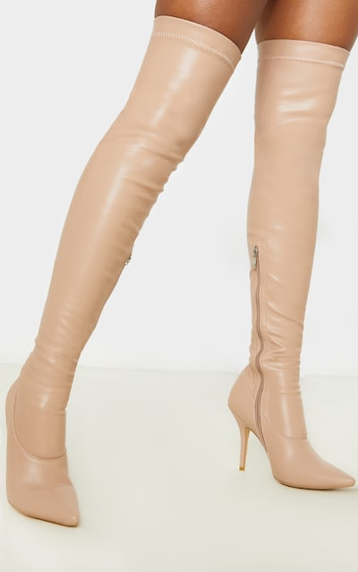 Nude Thigh High Pu Sock Boot