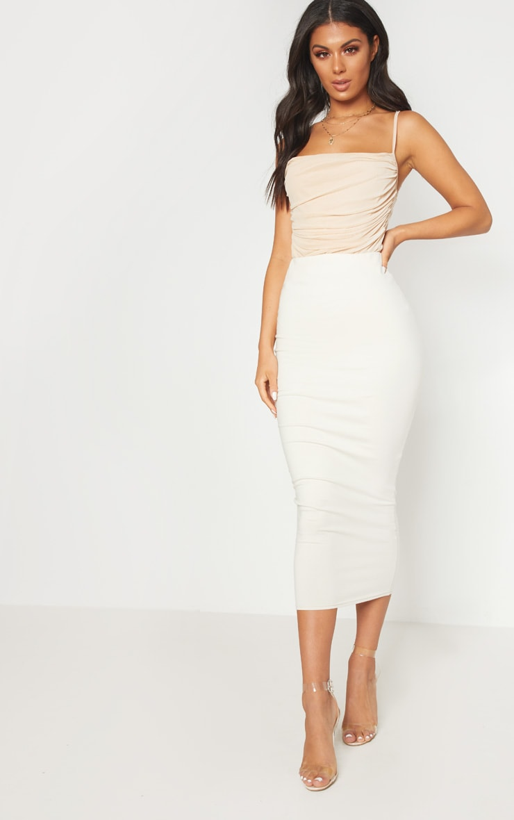 Nude Mesh Ruched Detail Bodysuit 5