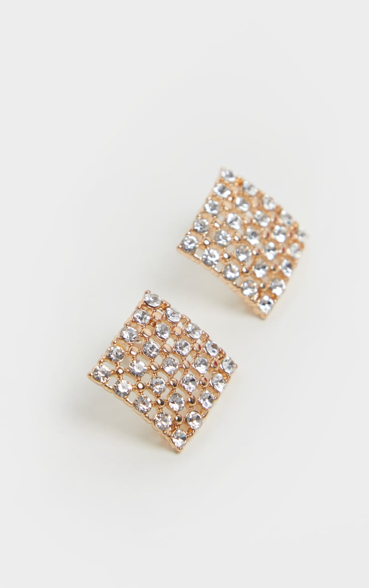 Gold Diamante Square Stud Earrings 3