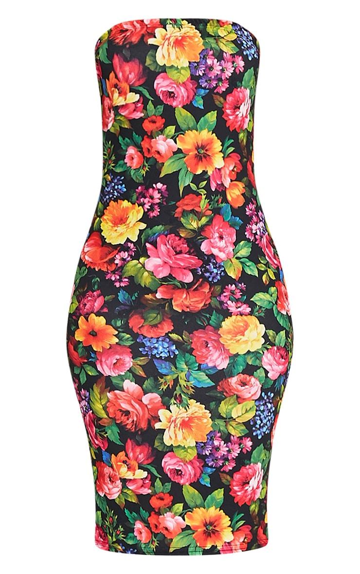 Jasmea Black Floral Bandeau Midi Dress 3