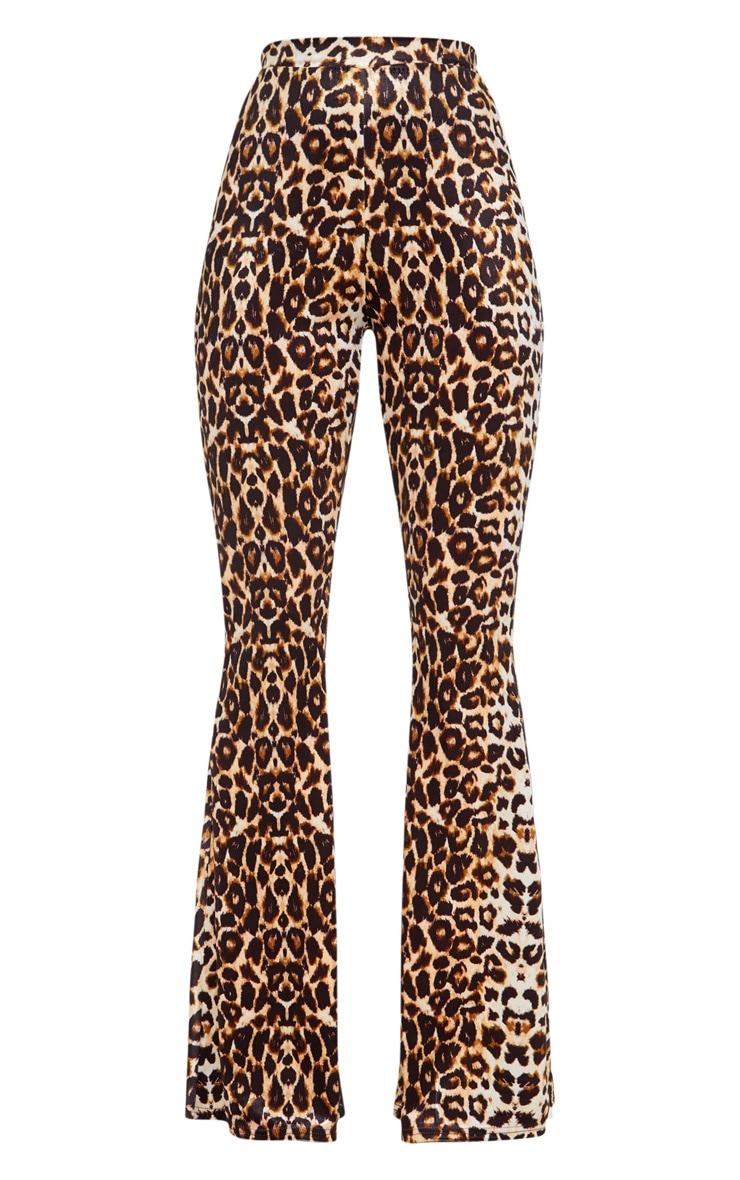 Pantalon flare en velours à imprimé léopard 3