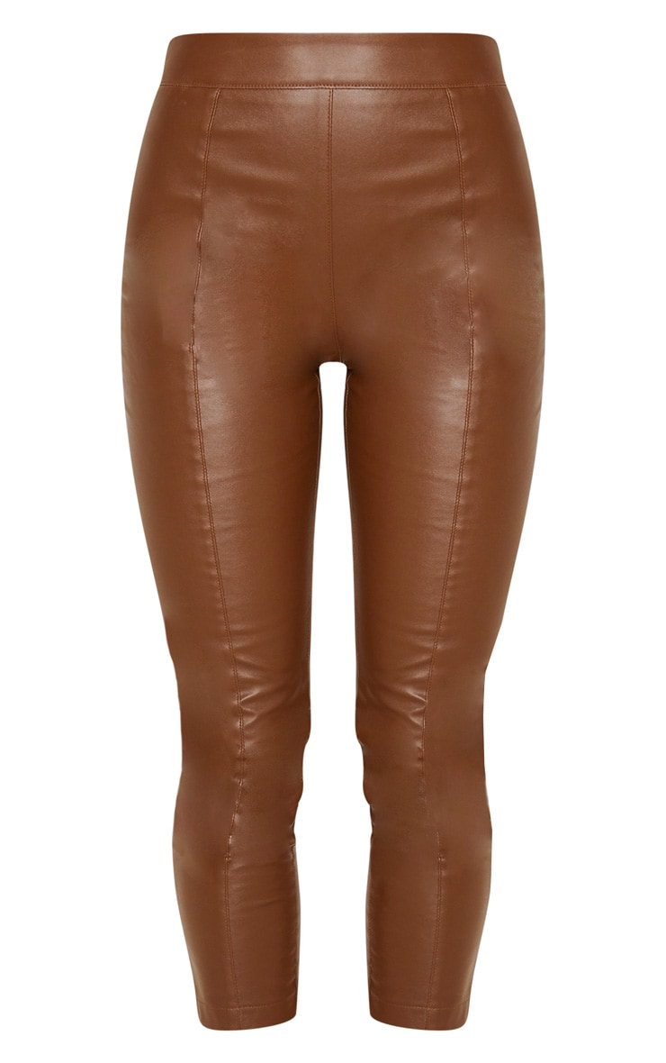 Chocolate Daysha Cropped Faux Leather Trousers 3