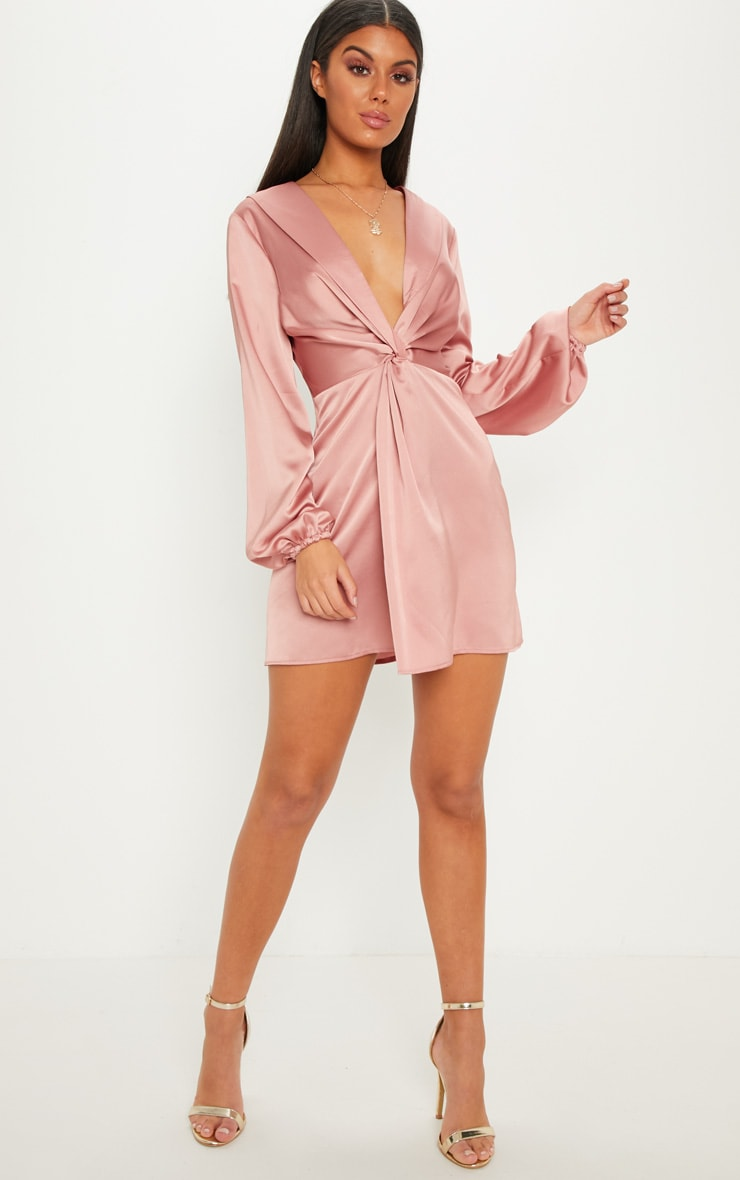 Rose Satin Knot Detail Plunge Shift Dress 4