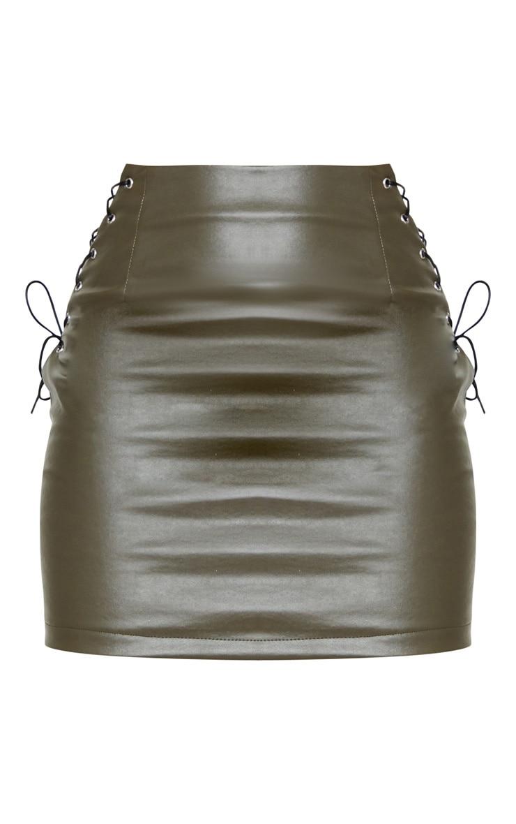 Khaki Faux Leather Lace Up Side Mini Skirt 6