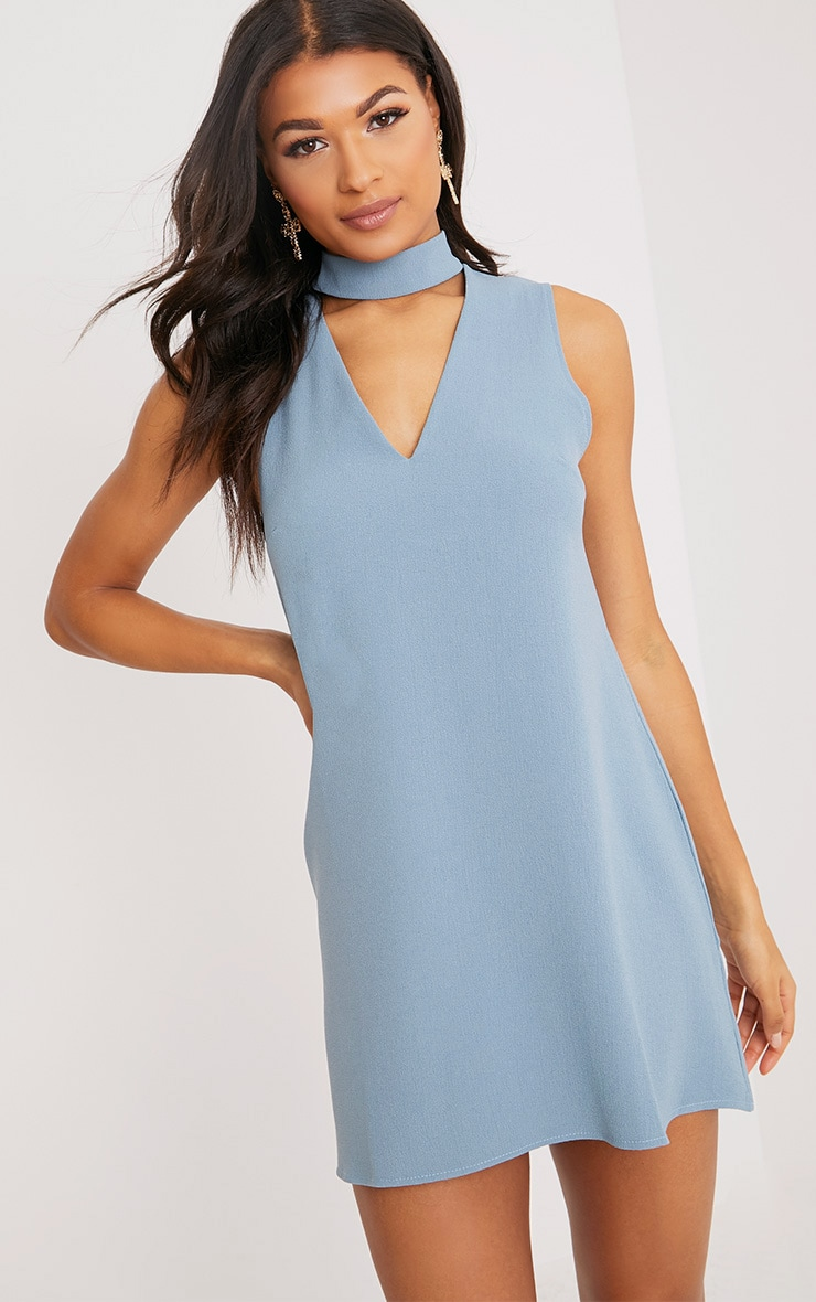 Cinder Dusty Blue Choker Detail Loose Fit Dress 1