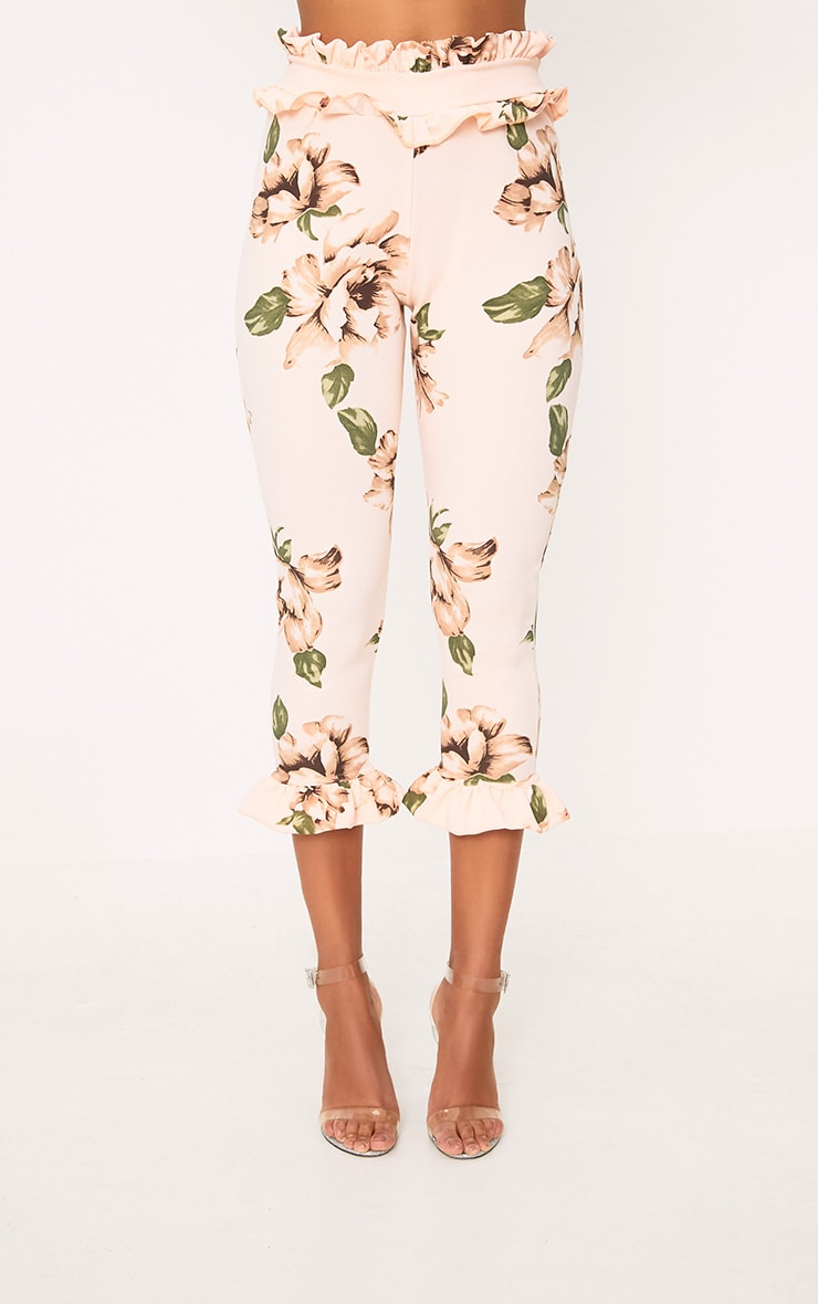 Blush Floral Frill Trim Trousers 2