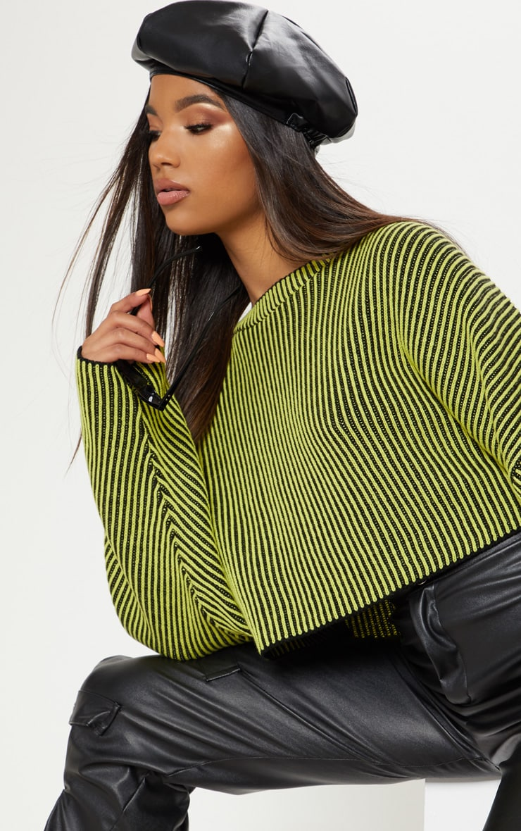 Lime Two Tone Knit Batwing Cropped Jumper 5