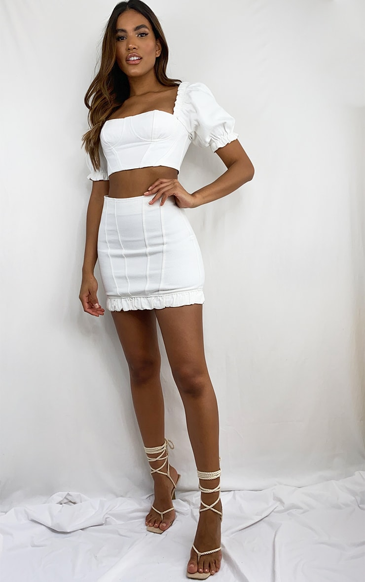 White Seam Detail Denim Mini Skirt 4