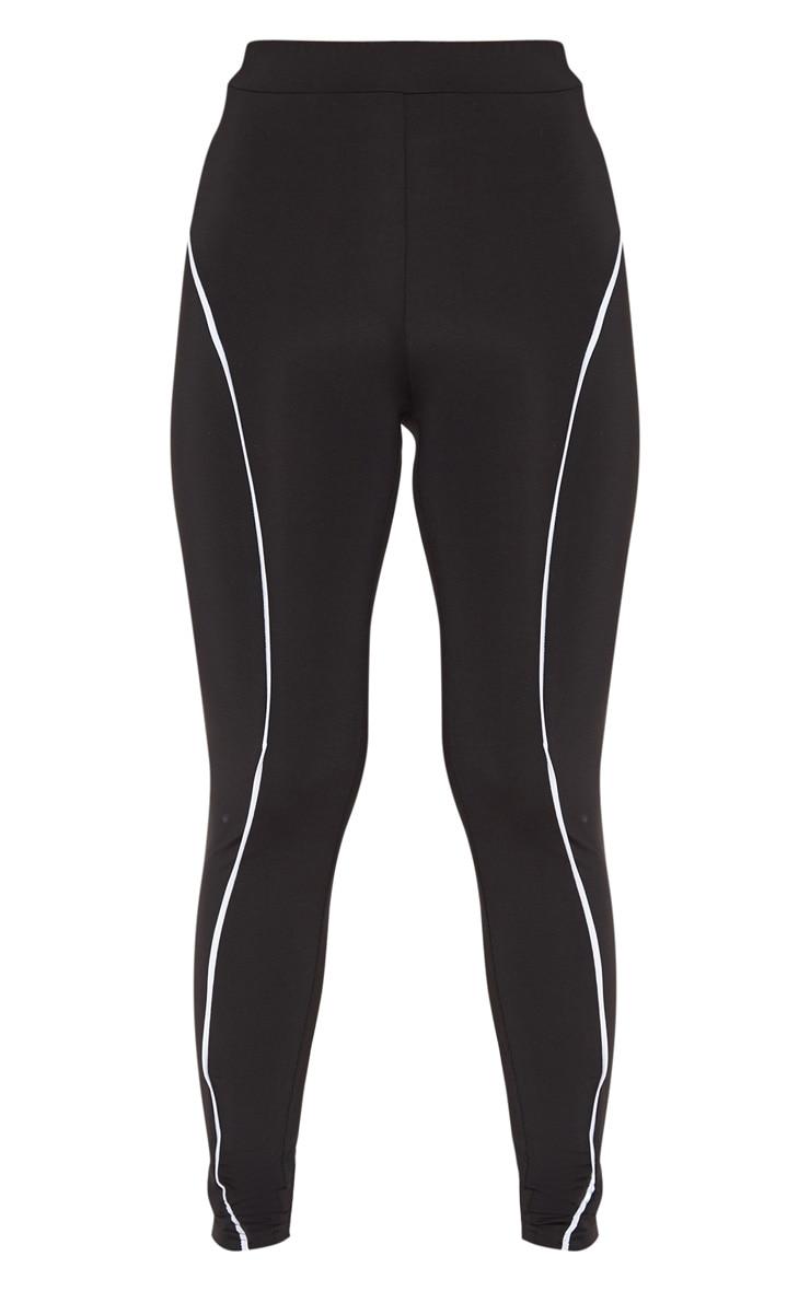 Black Contrast Binding High Waist Gym Legging 3