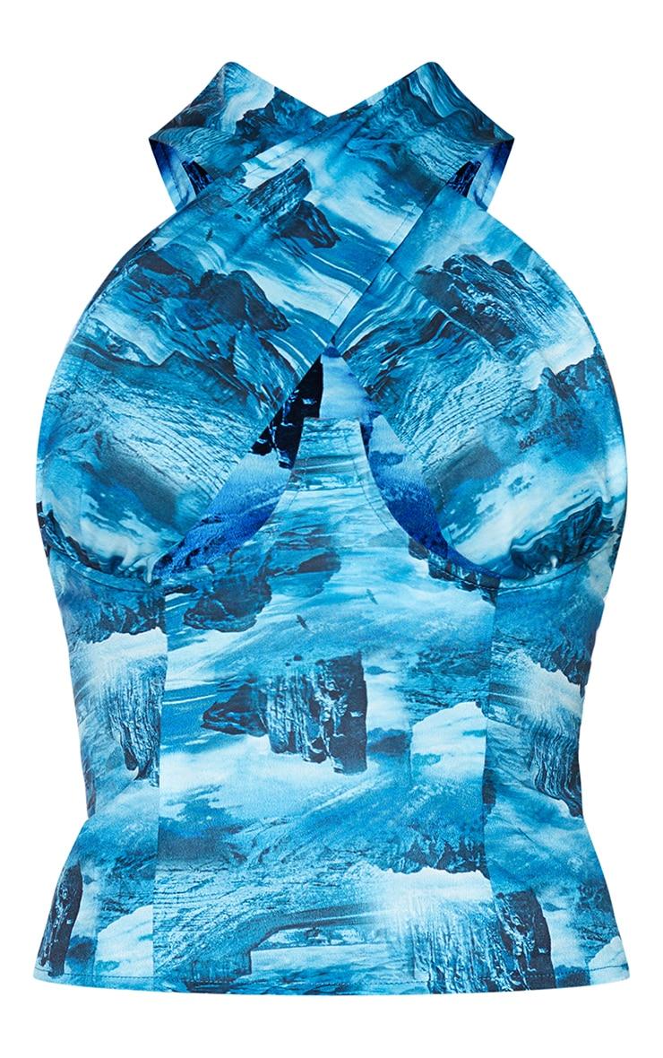 Teal Desert Landscape Print Woven Tie Dye Cross Over Underbust Halterneck Zip Top 5