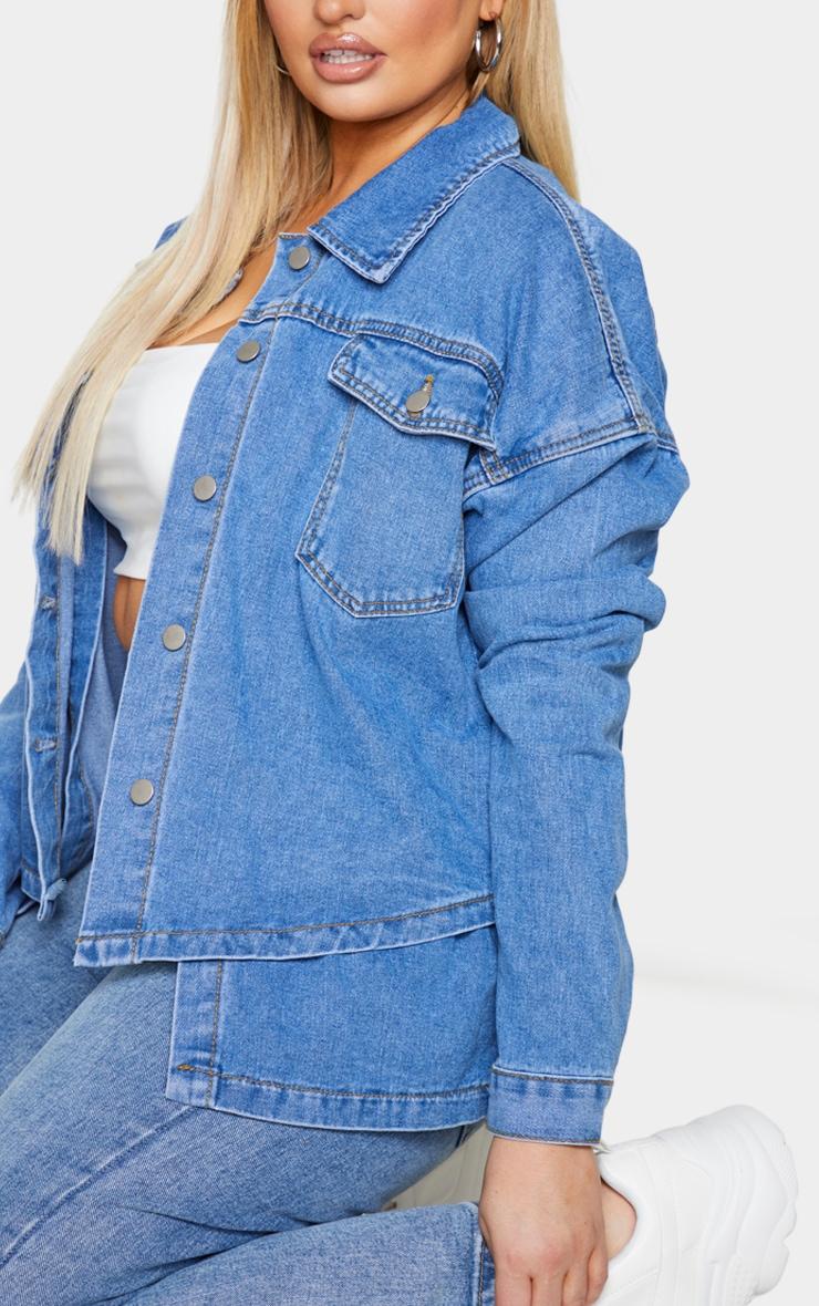 Plus Mid Blue Washed Denim Overlay Jacket 4