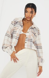 Pink Checked Cropped Shacket 1