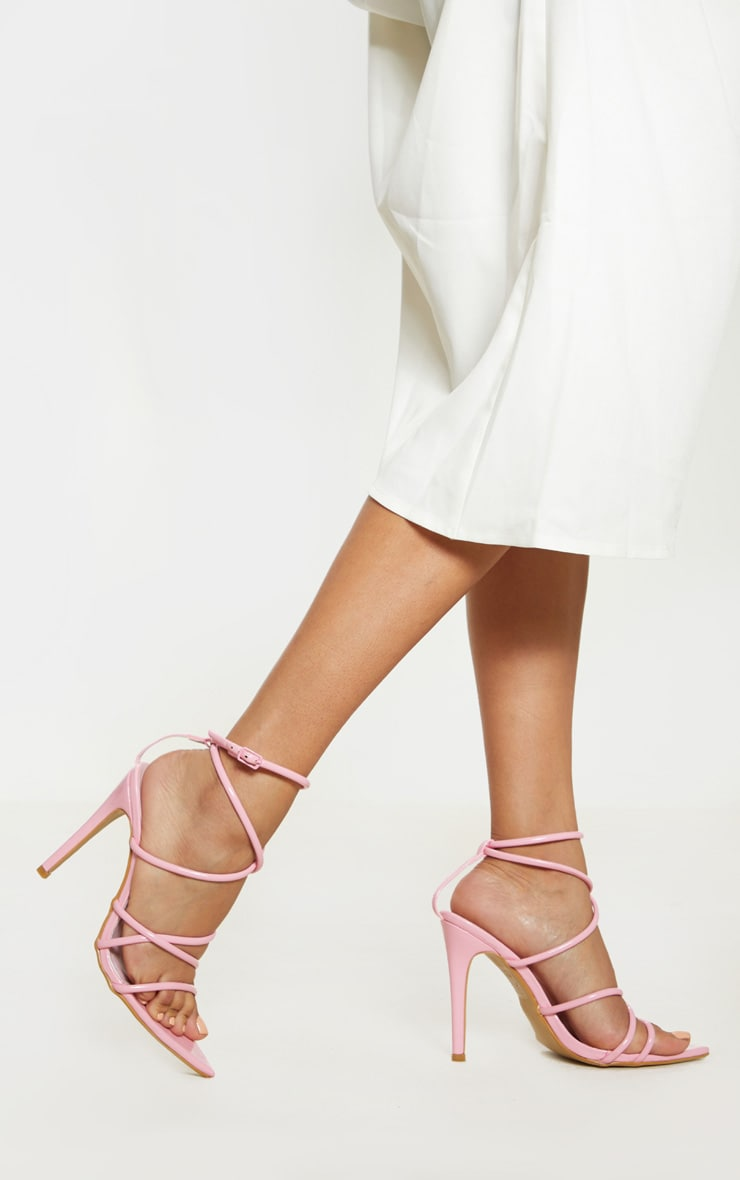 Pastel Pink Tube Strappy Point Toe Sandal 1