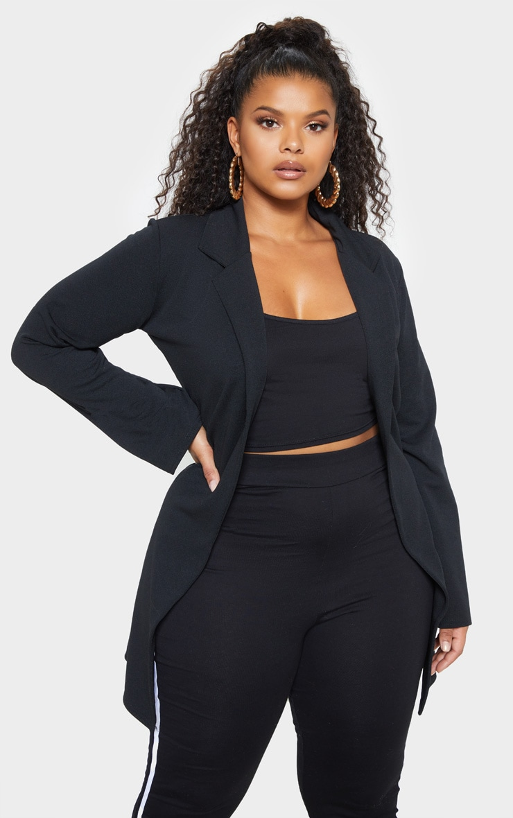Plus Black Longline Blazer 1