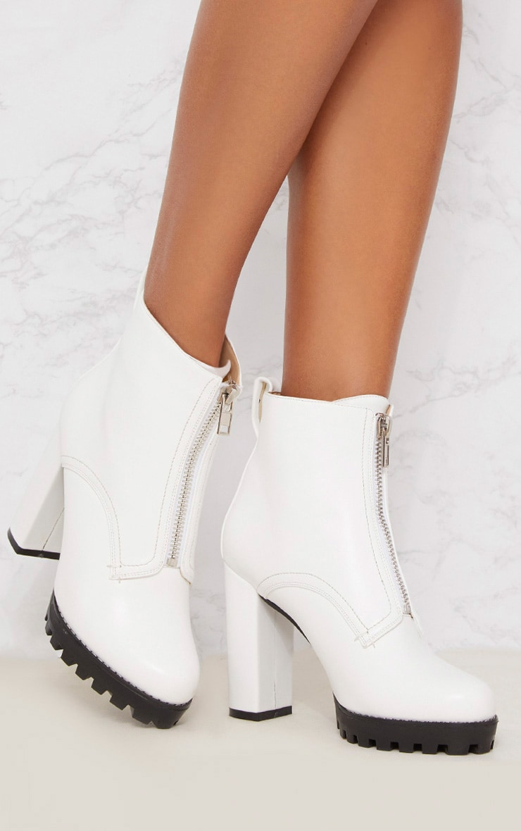White Platform Cleated Zip Front Ankle Boot 1
