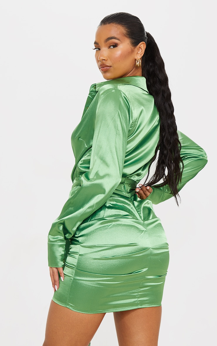 Green Satin Ruched Shirt Dress 2