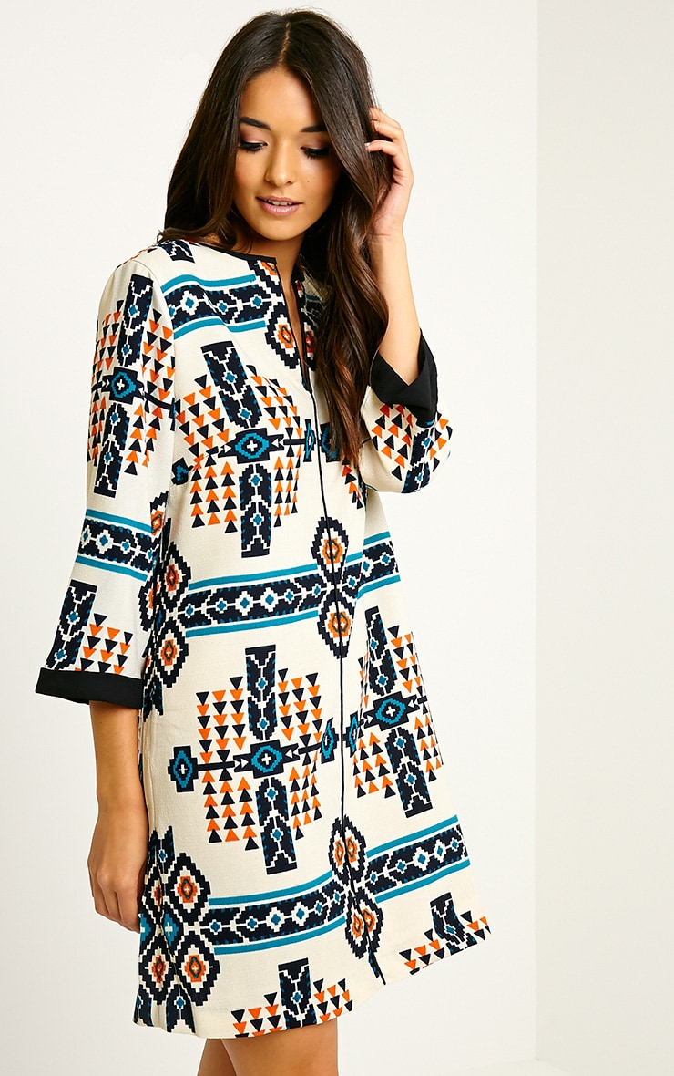 Wanda Cream Tribal Loose Fit Shift Dress 1