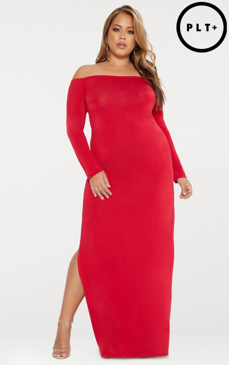 Plus Red Slinky Bardot Maxi Dress 1