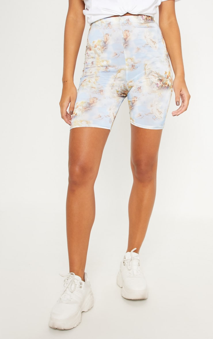 Pale Blue Renaissance Print Cycle Short 2