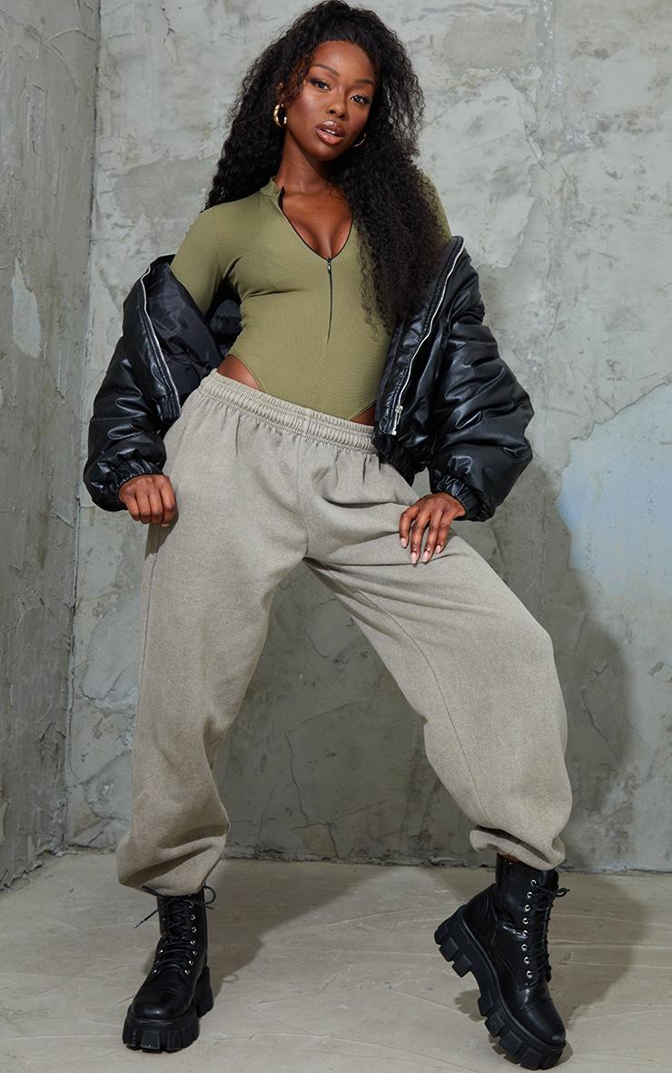 Khaki Rib Zip Up Long Sleeve Bodysuit 3