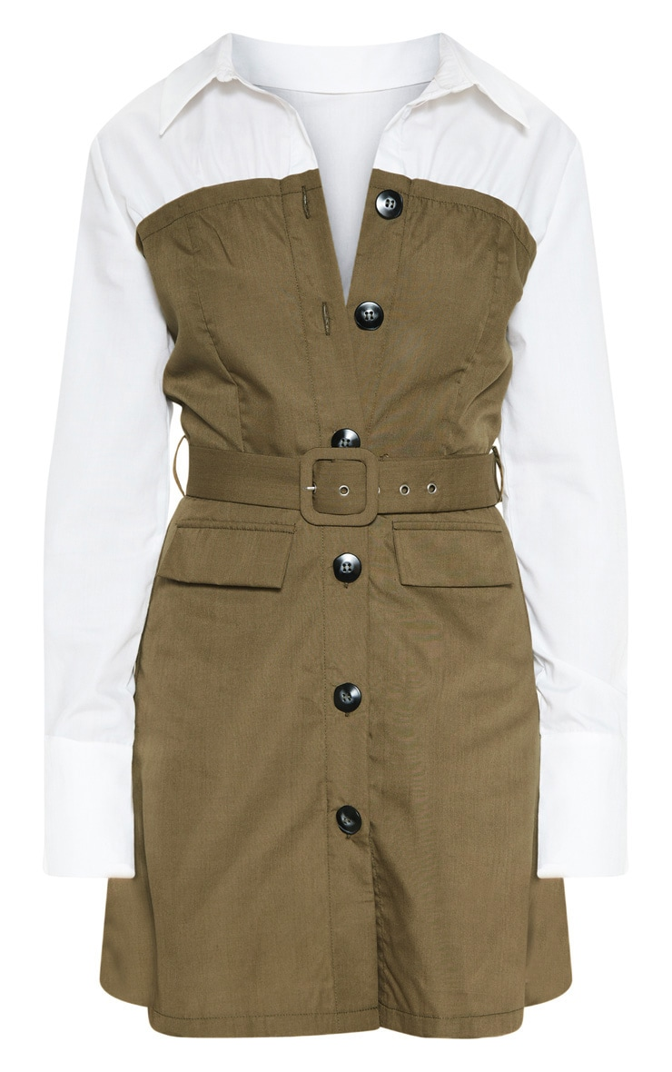 Khaki Bandeau Contrast Buttons Belted Shirt Dress 3
