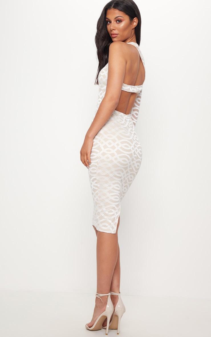 White One Shoulder Lace Midi Dress 2