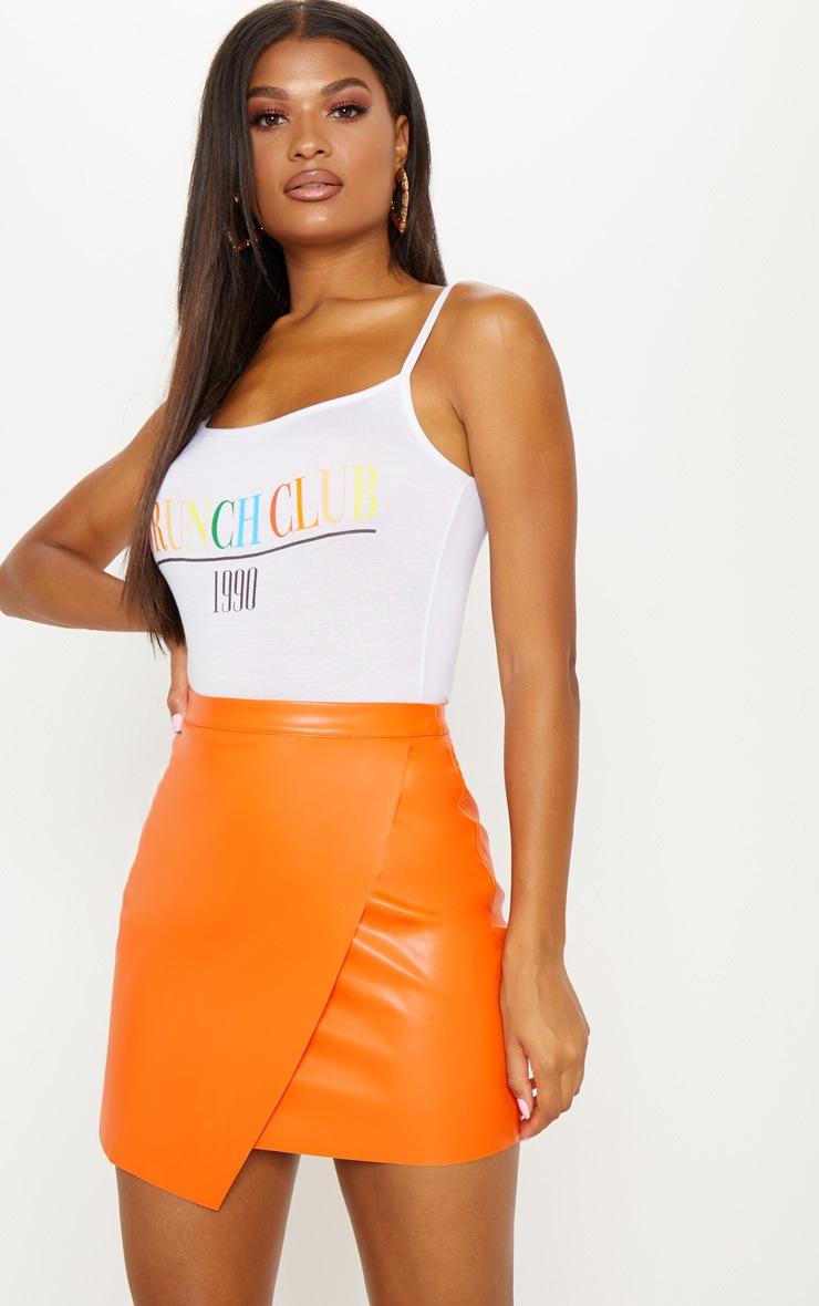 Orange Faux Leather Wrap Mini Skirt