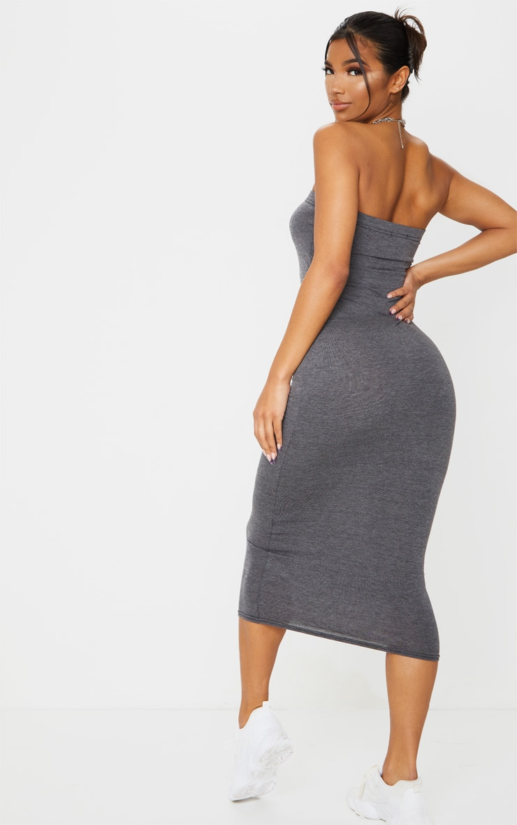 Basic Charcoal Grey Bandeau Midaxi Dress 2