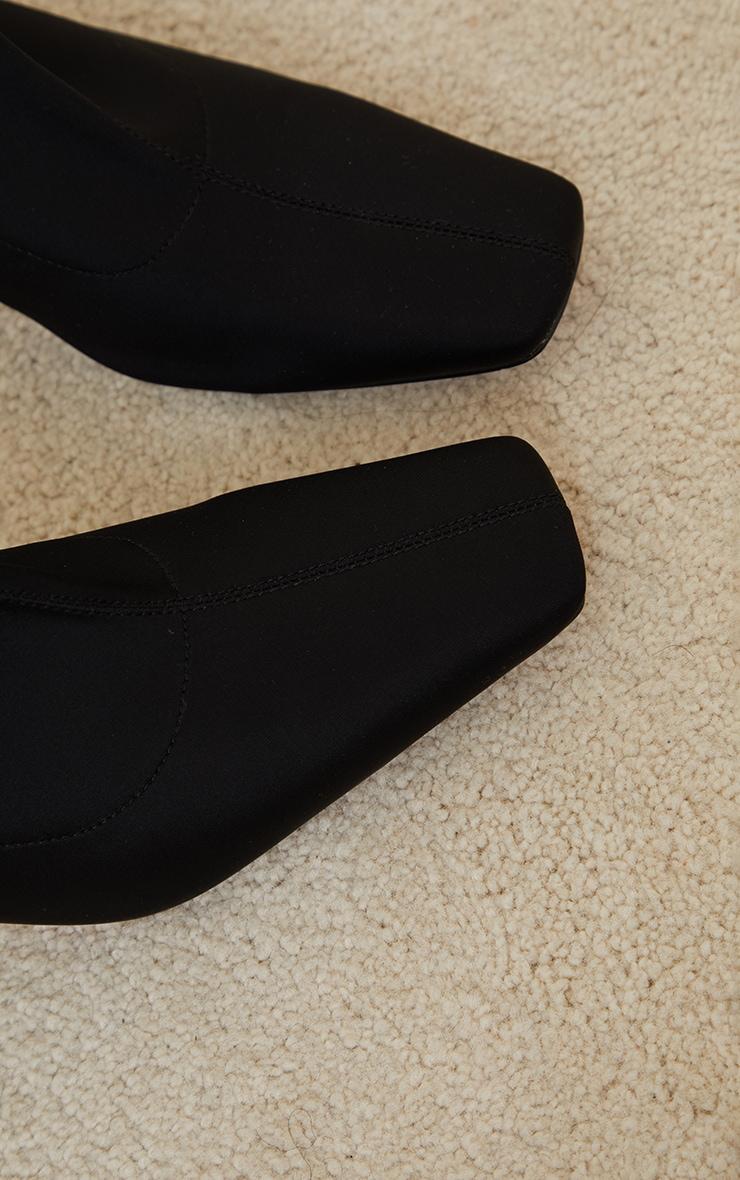 Black Lycra Square Toe Mid Heel Sock Boots 3