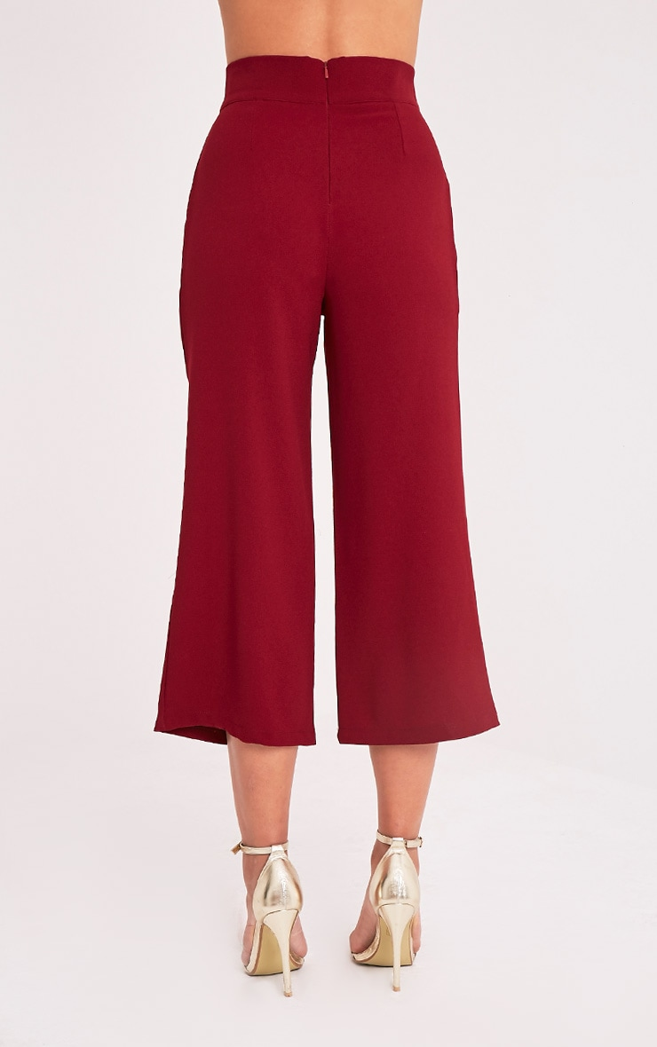 Tazmin Burgundy High Waisted Culottes 5