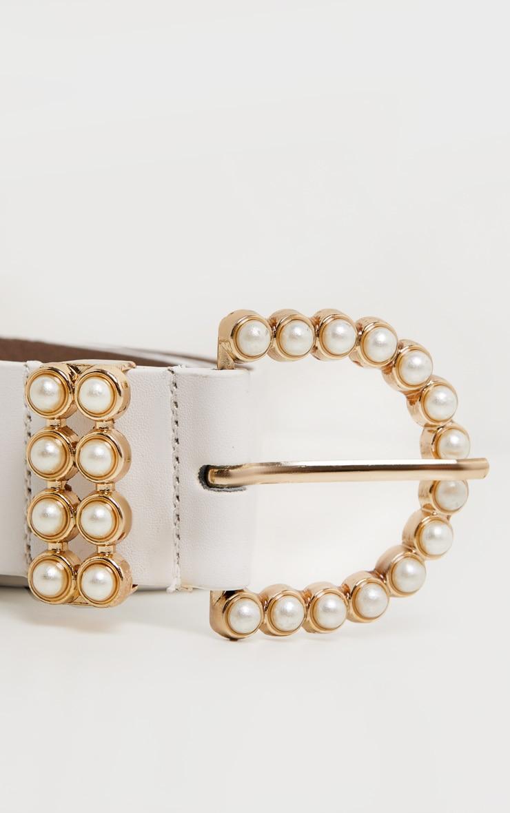 White Pearl Buckle PU Belt 3