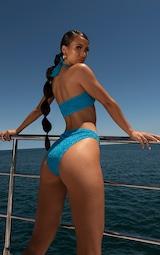Blue Glitter Cross Front Bikini Top 2