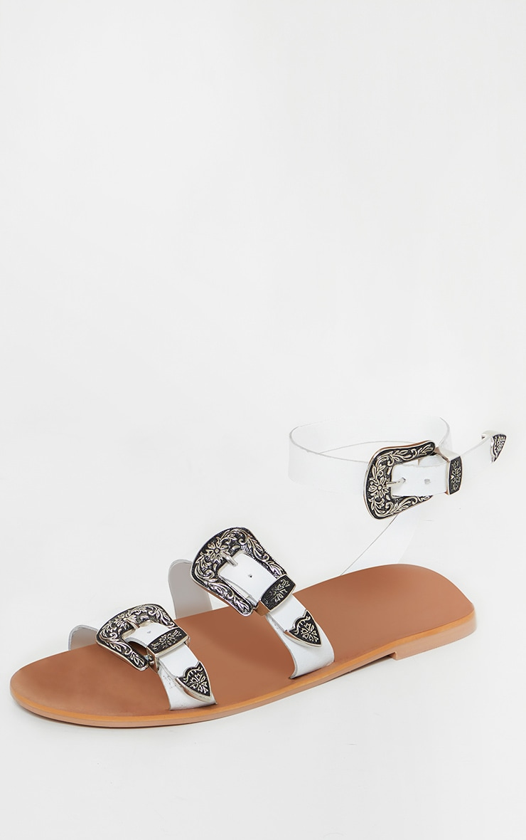 White Western Buckle Leather Sandal 3