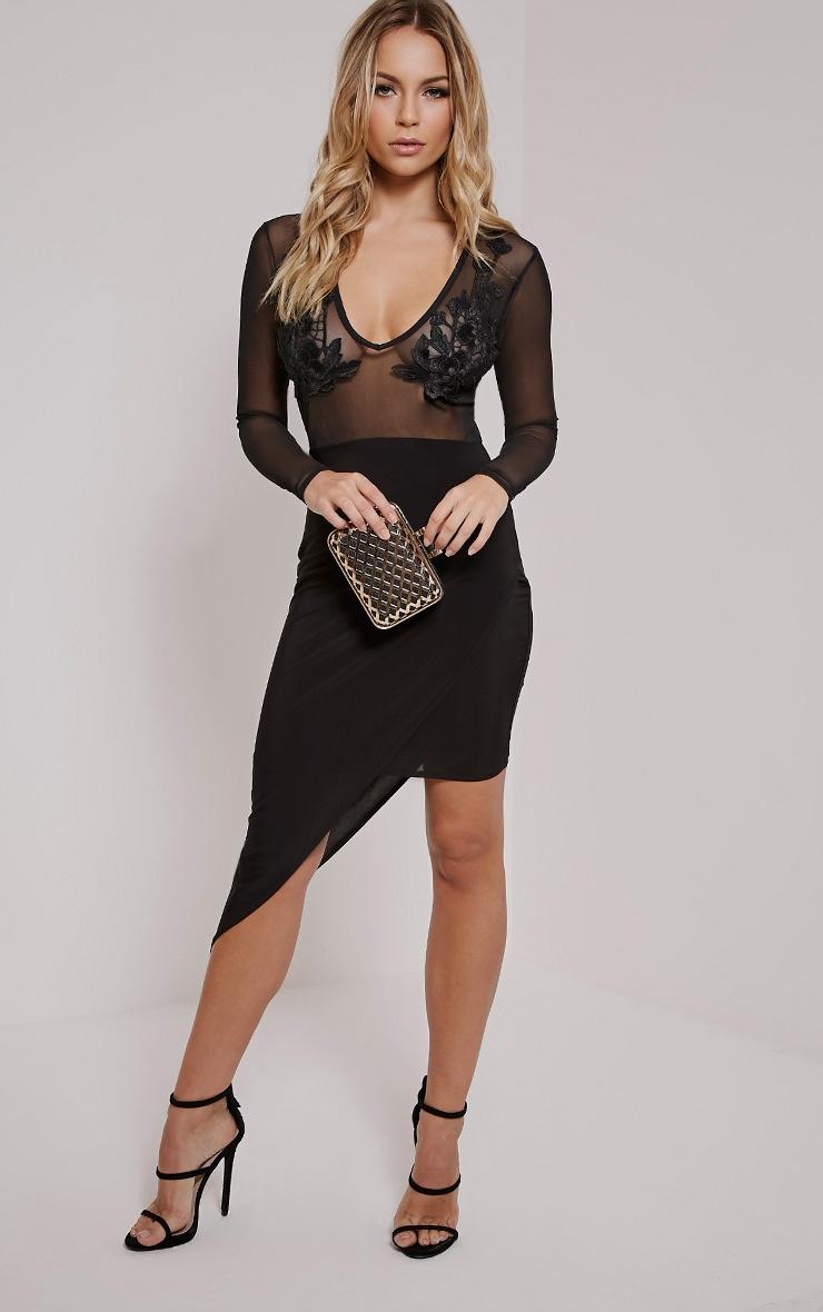 Sariyah Black Flower Applique Bodycon Dress 4