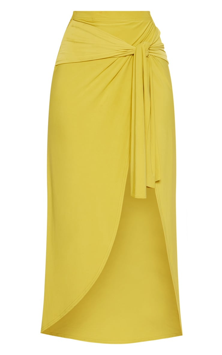 Lime Slinky Wrap Knot Front Midaxi Skirt 4